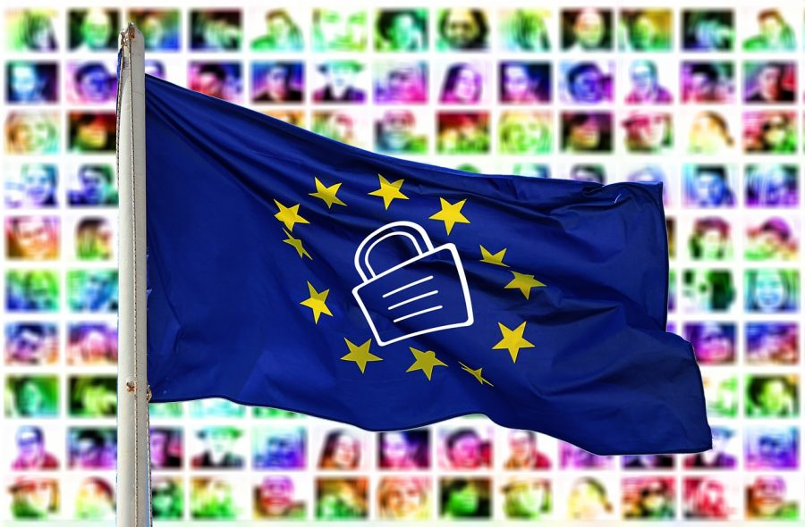The European Union flag with a padlock image on it.