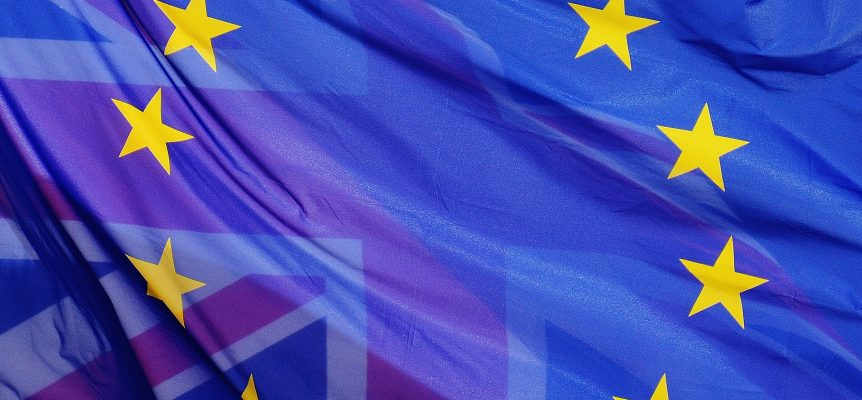 European Union flag imposed and blending into the Union Jack
