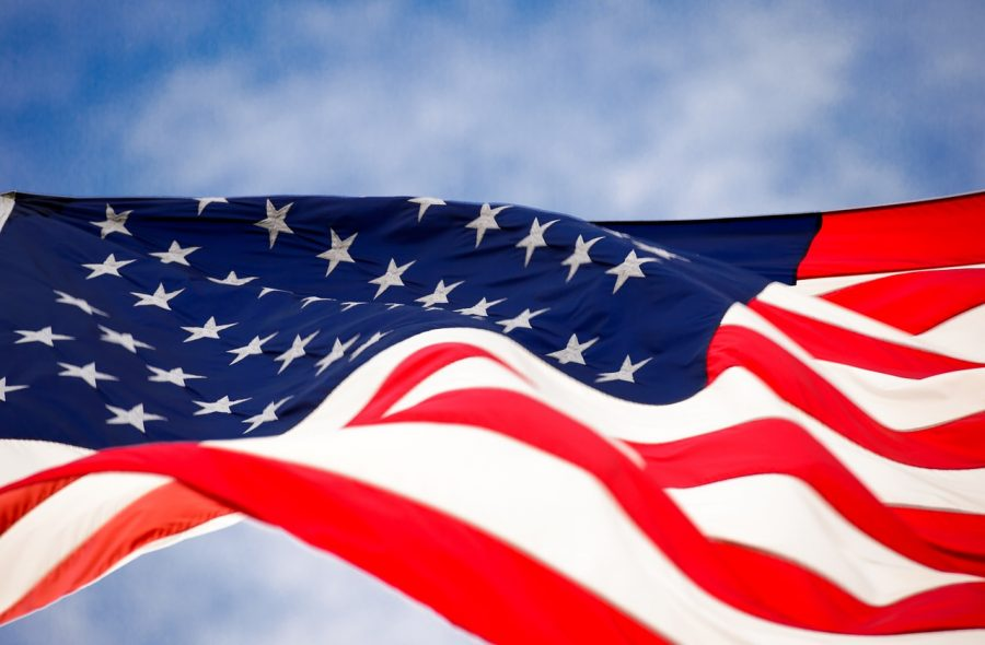 USA flag blowing in the wind.